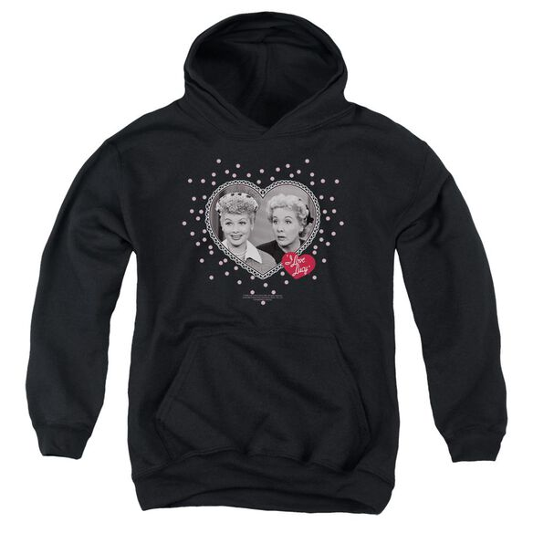 I Love Lucy Hearts And Dots Youth Pull Over Hoodie