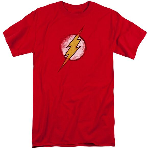 Jla Destroyed Flash Logo Short Sleeve Adult Tall T-Shirt