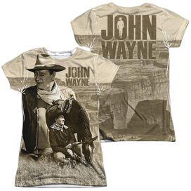 John Wayne Stoic Cowboy (Front Back Print) Short Sleeve Junior Poly Crew T-Shirt