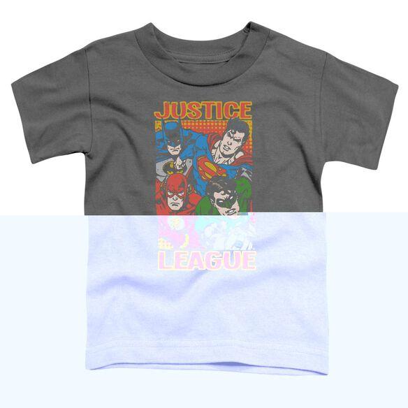 Jla Hero Mashup Short Sleeve Toddler Tee Charcoal T-Shirt