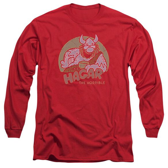 Hagar The Horrible Hagar Circle Long Sleeve Adult Royal T-Shirt