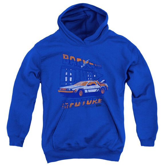 Back To The Future Lightning Strikes Youth Pull Over Hoodie Royal Royal