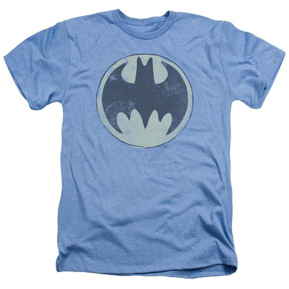 Batman Old Time Logo - Adult Heather - Light Blue