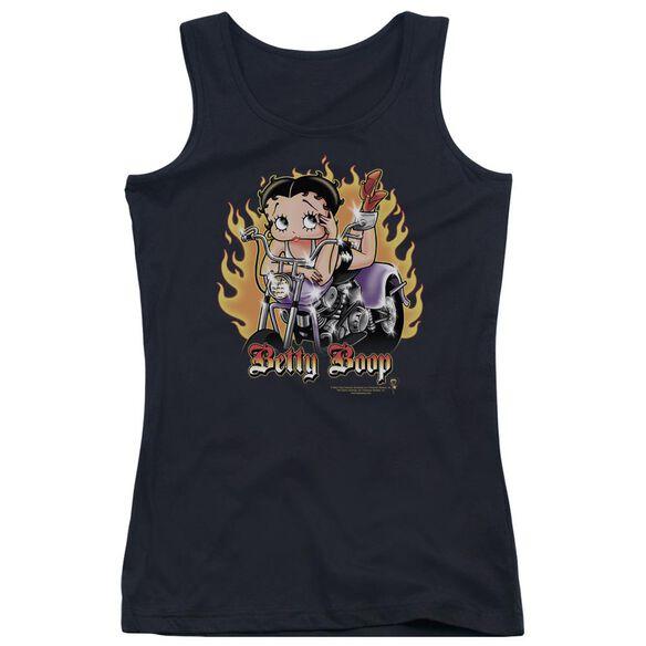 Betty Boop Biker Flames Boop Juniors Tank Top