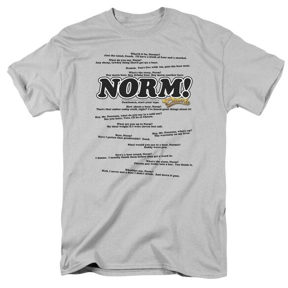 Cheers Normisms Short Sleeve Adult Silver T-Shirt
