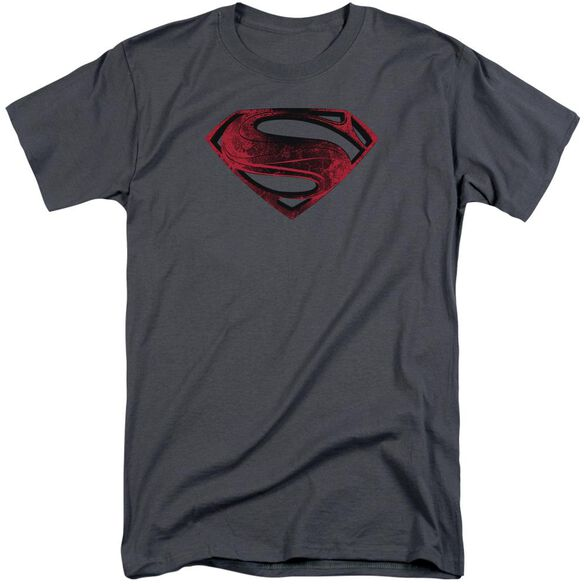 Man Of Steel Red And Black Glyph Short Sleeve Adult Tall T-Shirt
