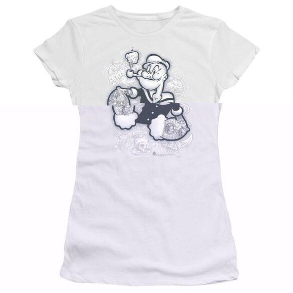POPEYE TATTOOED - S/S JUNIOR SHEER - WHITE T-Shirt