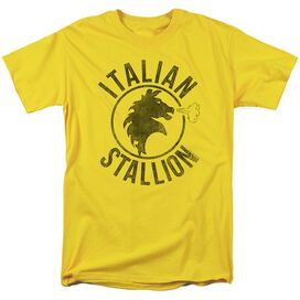 Rocky Italian Stallion Horse Short Sleeve Adult Yellow T-Shirt