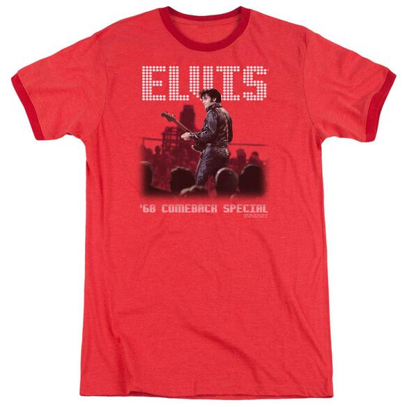 Elvis Return Of The King Adult Heather Ringer Red