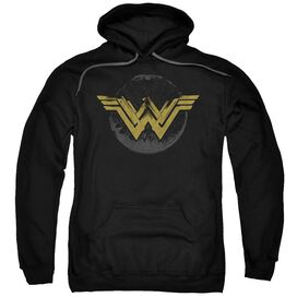 Wonder Woman Movie Distressed Logo Adult Pull Over Hoodie Black