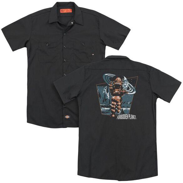 Forbidden Planet Robby Walks (Back Print) Adult Work Shirt