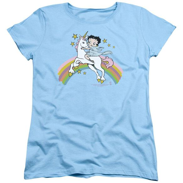Betty Boop Unicorn & Rainbows Short Sleeve Womens Tee Light T-Shirt