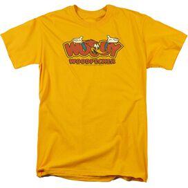 Woody Woodpecker In Logo Short Sleeve Adult T-Shirt