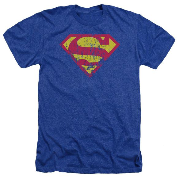Superman Classic Logo Distressed Adult Heather Royal
