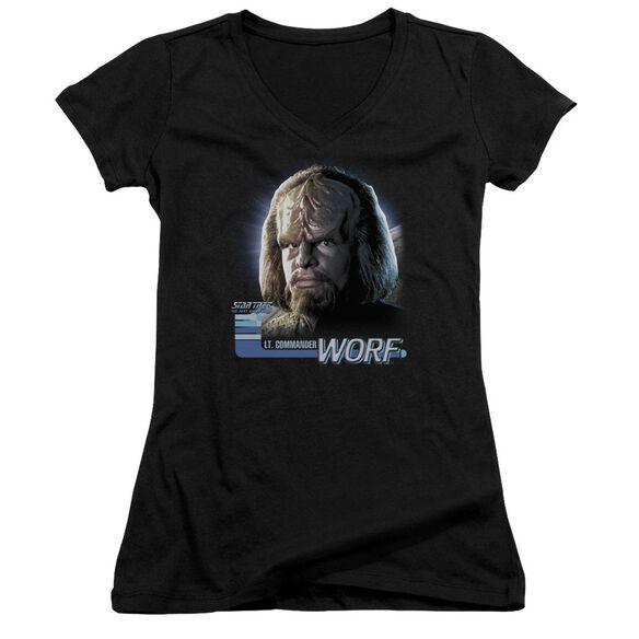 Star Trek Tng Worf Junior V Neck T-Shirt