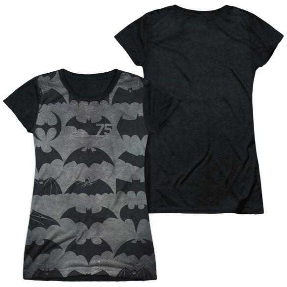 Batman 75 Symbols Short Sleeve Junior Poly Black Back T-Shirt