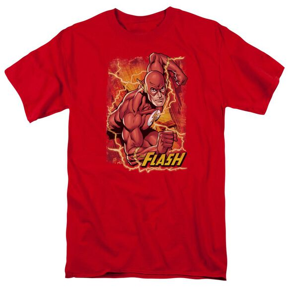 Jla Flash Lightning Short Sleeve Adult T-Shirt