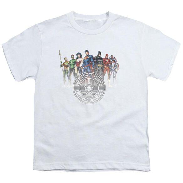 Jla Circle Crest Short Sleeve Youth T-Shirt