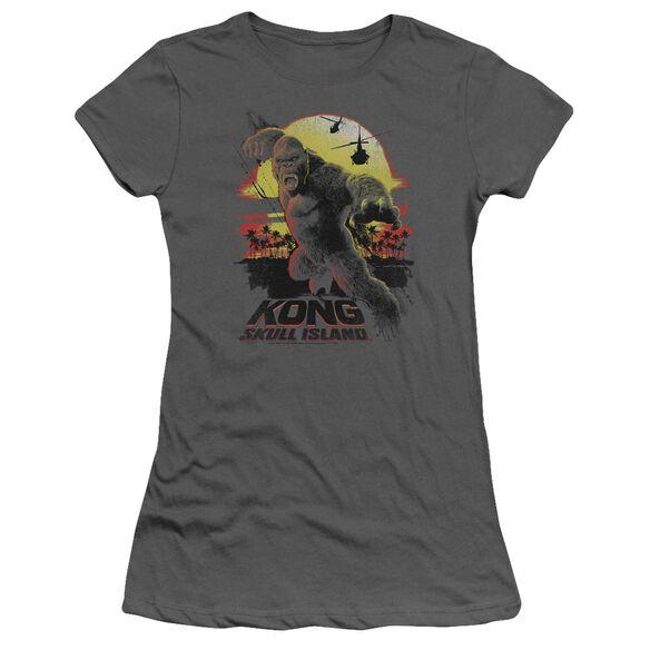 Kong Skull Island Kong Sunset Hbo Short Sleeve Junior Sheer T-Shirt