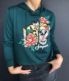 Japan Tiger Women's Crop Hoodie