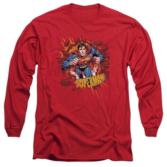 SUPERMAN SORRY ABOUT THE WALL - L/S ADULT 18/1 - RED T-Shirt