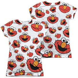 Sesame Street Elmo Face Pattern (Front Back Print) Short Sleeve Junior Poly Crew T-Shirt