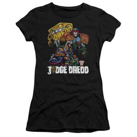 Judge Dredd Bike And Badge Short Sleeve Junior Sheer T-Shirt