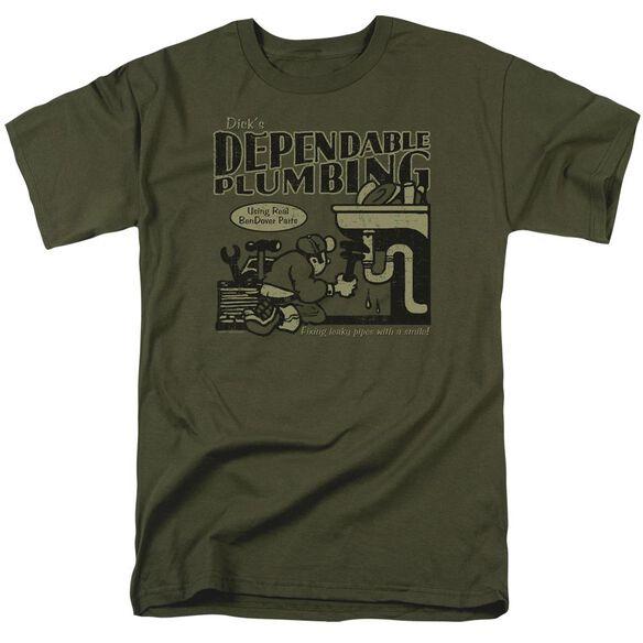 DICKS PLUMBING - ADULT 18/1 - MILITARY GREEN T-Shirt