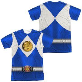 Power Rangers Blue Ranger Emblem (Front Back Print) Short Sleeve Adult Poly Crew T-Shirt