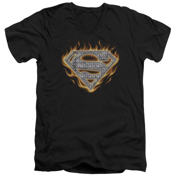 Superman Steel Fire Shield Short Sleeve Adult V Neck T-Shirt