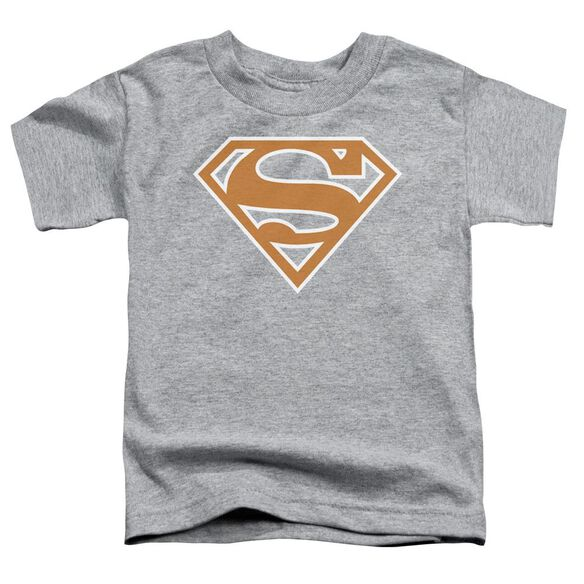 Superman Burnt Orange&White Shield Short Sleeve Toddler Tee Athletic Heather T-Shirt