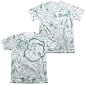 POPEYE REPEAT SAILOR (FRONT/BACK PRINT) - ADULT 65/35 POLY/COTTON S/S TEE - WHITE T-Shirt