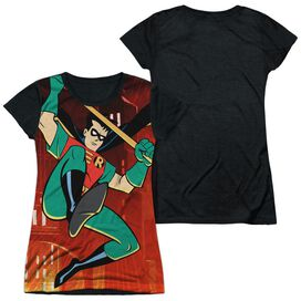 Batman The Animated Series Robins Night Out Short Sleeve Junior Poly Black Back T-Shirt