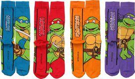 Ninja Turtles Names 4 Pair Crew Socks Set