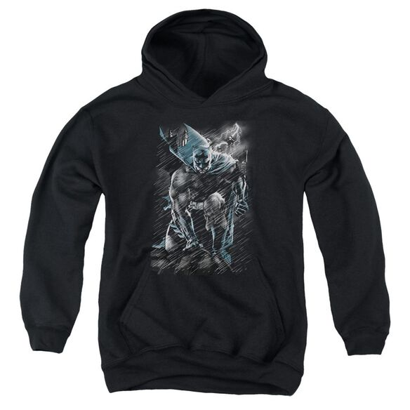 Batman In The Rain Youth Pull Over Hoodie