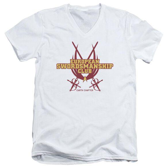 Star Trek Swordsmanship Club Short Sleeve Adult V Neck T-Shirt