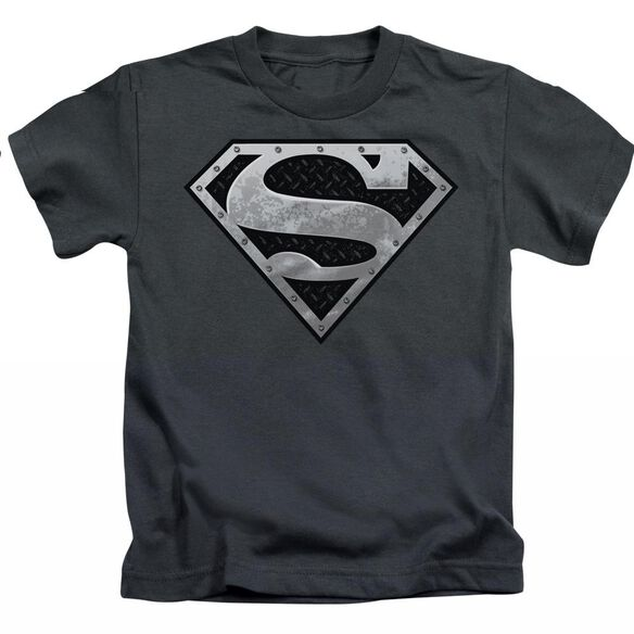 SUPERMAN SUPER METALLIC SHIELD - S/S JUVENILE 18/1 - CHARCOAL - T-Shirt