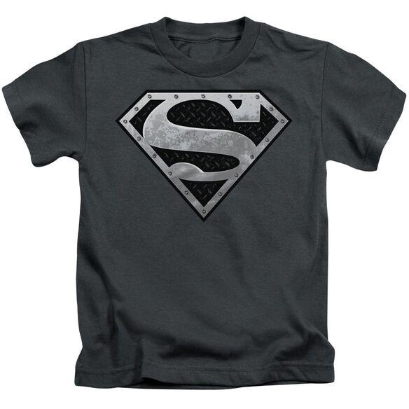 Superman Super Metallic Shield Short Sleeve Juvenile Charcoal Md T-Shirt