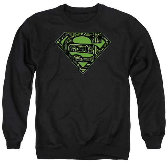 Superman Circuits Shield - Adult Crewneck Sweatshirt - Black