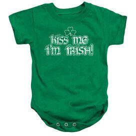 Kiss Me I'm Irish Infant Snapsuit Kelly Green