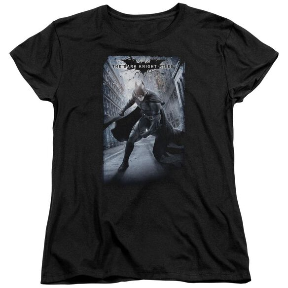 Dark Knight Rises Crumbled Poster Short Sleeve Womens Tee Black T-Shirt