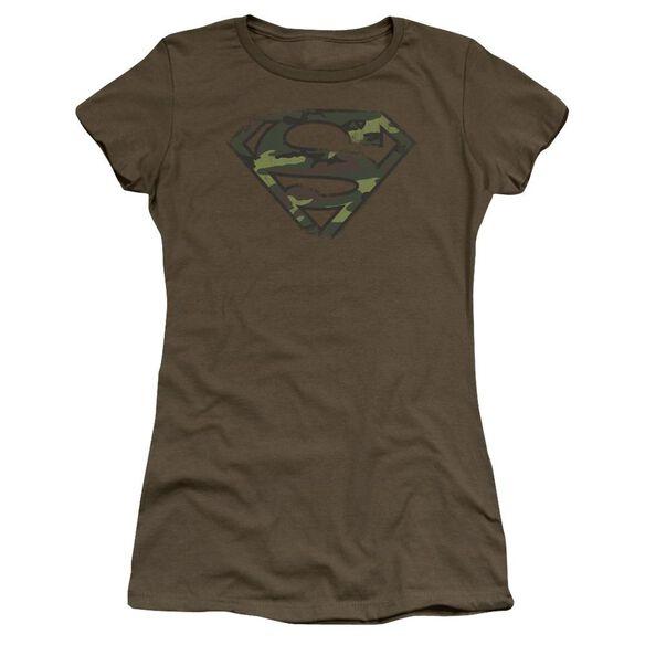 Superman Distressed Camo Shield Premium Bella Junior Sheer Jersey Military