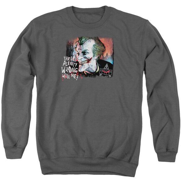 Arkham City Plenty Wrong - Adult Crewneck Sweatshirt - Charcoal