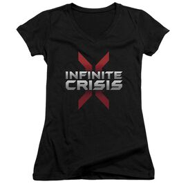 Infinite Crisis Logo Junior V Neck T-Shirt