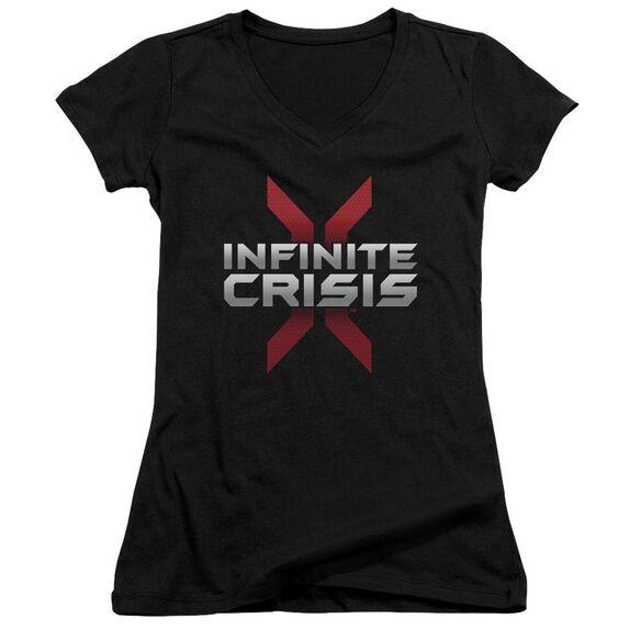 Infinite Crisis Logo Junior V Neck T-Shirt