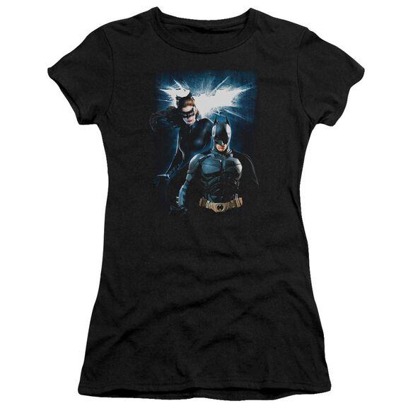 Dark Knight Rises Bat & Cat Short Sleeve Junior Sheer T-Shirt