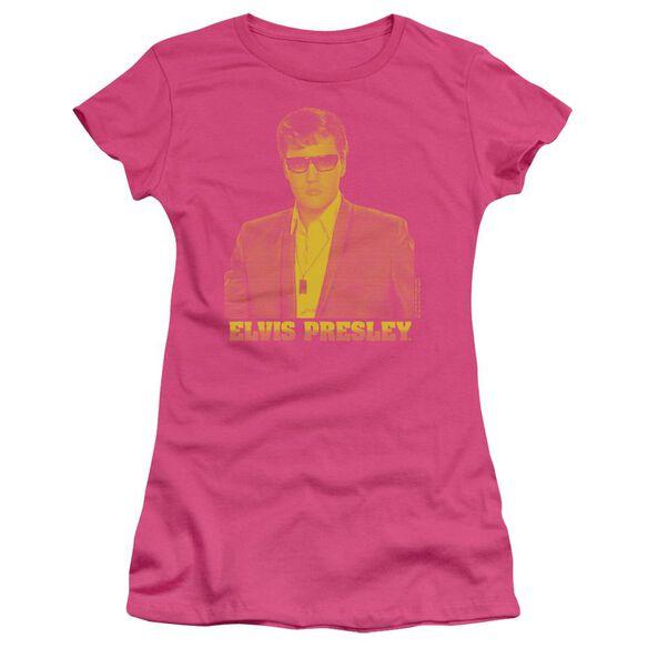 Elvis Yellow Elvis Short Sleeve Junior Sheer Hot T-Shirt