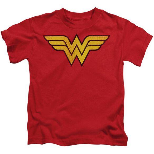 Dc Wonder Woman Logo Dist Short Sleeve Juvenile Red T-Shirt