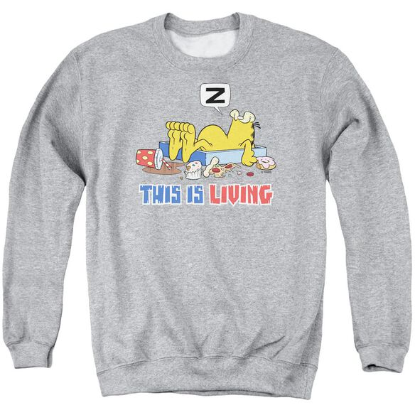 Garfield This Is Living Adult Crewneck Sweatshirt Athletic