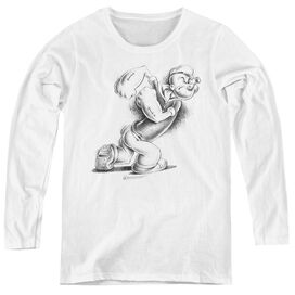 POPEYE HERE COMES TROUBLE - WOMENS LONG SLEEVE TEE